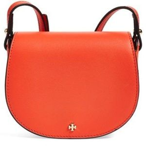 Tory Burch 'mini' coral leather saddle bag